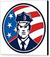 American Policeman Security Guard Retro Canvas Print by Aloysius Patrimonio