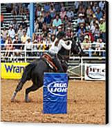 American Rodeo Female Barrel Racer Dark Horse Iv Canvas Print by Sally Rockefeller