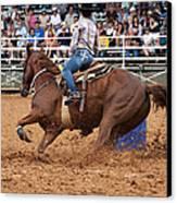 American Rodeo Female Barrel Racer White Blaze Chestnut Horse IIi Canvas Print by Sally Rockefeller