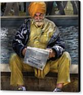 Americana - People - Casually Reading A Newspaper Canvas Print by Mike Savad