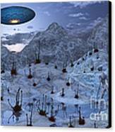 An Alien Reptoid Being Signaling Canvas Print by Mark Stevenson
