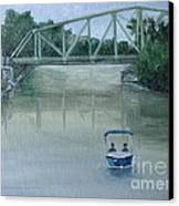 An Evening  Boat Ride On Lachine Canal Canvas Print by Reb Frost