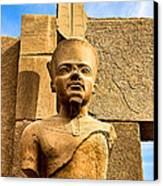 Ancient Face Of A Pharaoh At Karnak Canvas Print by Mark E Tisdale