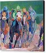And Down The Stretch They Com Canvas Print by Kimberly Santini