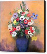 Anemones And Lilac In A Blue Vase Canvas Print by Odilon Redon