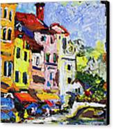 Annecy France Canal And Bistros Impressionism Knife Oil Painting Canvas Print by Ginette Callaway