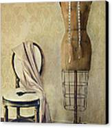 Antique Dress Form And Chair With Vintage Feeling Canvas Print by Sandra Cunningham
