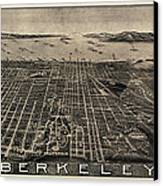 Antique Map Of Berkeley California By Charles Green - Circa 1909 Canvas Print by Blue Monocle