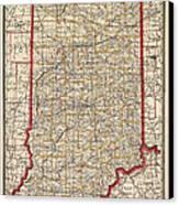 Antique Map Of Indiana By George Franklin Cram - 1888 Canvas Print by Blue Monocle