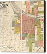 Antique Map Of Little Rock Arkansas By Gibb And Duff Rickon - 1888 Canvas Print by Blue Monocle