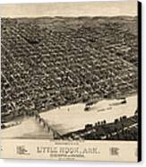 Antique Map Of Little Rock Arkansas By H. Wellge - 1887 Canvas Print by Blue Monocle