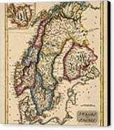 Antique Map Of Scandinavia By Fielding Lucas - Circa 1817 Canvas Print by Blue Monocle