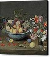 Apricots Plums And Grapes In A Bowl Canvas Print by Jacob Van Hulsdonck