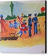 Arrested For Breaking Canvas Print by Hori Kiwara