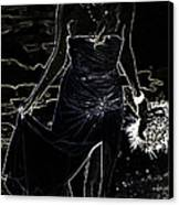 As Aphrodite Coming From Sea Foam. Black Art Canvas Print by Jenny Rainbow