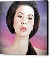 Asian Beauty Fade To Black Version Canvas Print by Jim Fitzpatrick