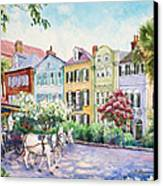 Assault And Battery On Rainbow Row Canvas Print by Alice Grimsley