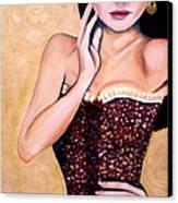 Aubergine Lace Canvas Print by Debi Starr