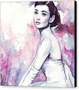 Audrey Hepburn Purple Watercolor Portrait Canvas Print by Olga Shvartsur