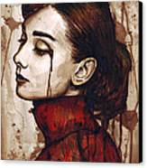 Audrey Hepburn - Quiet Sadness Canvas Print by Olga Shvartsur