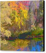 Autumn Beside The Pond Canvas Print by Don Schwartz