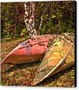 Autumn Canoes Canvas Print by Debra and Dave Vanderlaan