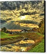 Autumn Sunset Reflection Canvas Print by Jim Lepard
