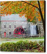 Auutmn At The Grist Mill Canvas Print by Michael Blanchette