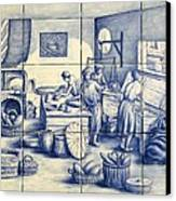 Azulejo Portuguese Bakers Tile Mural Canvas Print by Julia Sweda