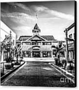 Balboa Pavilion Newport Beach Black And White Picture Canvas Print by Paul Velgos