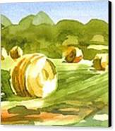 Bales In The Morning Sun Canvas Print by Kip DeVore