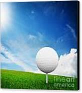 Ball On Tee On Green Golf Field Canvas Print by Michal Bednarek