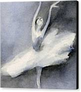 Ballerina In White Tutu Watercolor Painting Canvas Print by Beverly Brown Prints