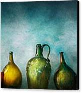 Bar - Bottles - Green Bottles  Canvas Print by Mike Savad