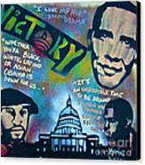 Barack And Common And Kanye Canvas Print by Tony B Conscious