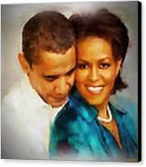 Barack And Michelle Canvas Print by Wayne Pascall