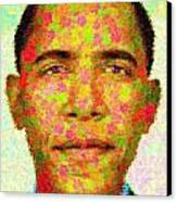 Barack Obama - Maple Leaves Canvas Print by Samuel Majcen