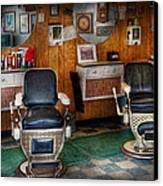 Barber - Frenchtown Nj - Two Old Barber Chairs  Canvas Print by Mike Savad