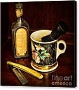 Barber - Shaving Mug And Toilet Water Canvas Print by Paul Ward
