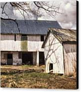 Barn Near Utica Mills Covered Bridge Canvas Print by Joan Carroll