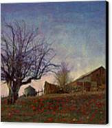 Barn On The Hill - Big Sky Canvas Print by R christopher Vest