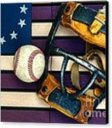Baseball Catchers Mask Vintage On American Flag Canvas Print by Paul Ward