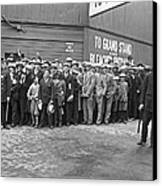 Baseball Fans Waiting In Line To Buy World Series Tickets. Canvas Print by Underwood Archives