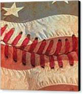 Baseball Is Sewn Into The Fabric Canvas Print by Heidi Smith