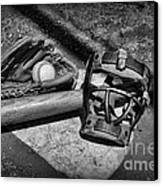 Baseball Play Ball In Black And White Canvas Print by Paul Ward