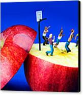 Basketball Games On The Apple Little People On Food Canvas Print by Paul Ge