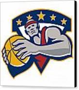 Basketball Player Holding Ball Star Retro Canvas Print by Aloysius Patrimonio
