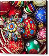 Basketful Of Christmas Ornaments Canvas Print by Garry Gay