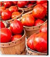 Baskets Of Tomatoes At A Farmers Market Canvas Print by Teri Virbickis