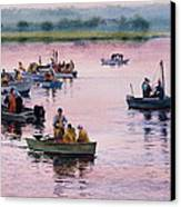 Bass River Scallopers Canvas Print by Karol Wyckoff
